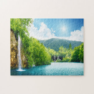 Waterfall Lake Landscape Jigsaw Puzzle