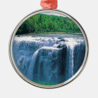 Waterfall Letchworth State Park New York Round Metal Christmas Ornament