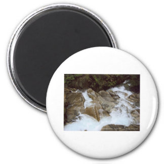 Waterfall Looking Down Mt Rainier National Park 2 Inch Round Magnet
