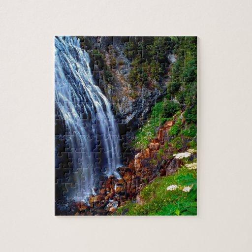 Waterfall Mount Rainier Jigsaw Puzzle Zazzle