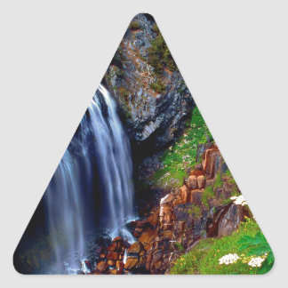 Waterfall Mount Rainier Triangle Sticker