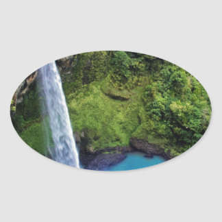 Waterfall Nature Park Blue Water Forest Destiny Oval Stickers