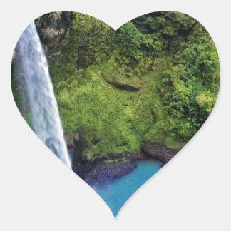 Waterfall Nature Park Blue Water Forest Destiny Heart Sticker
