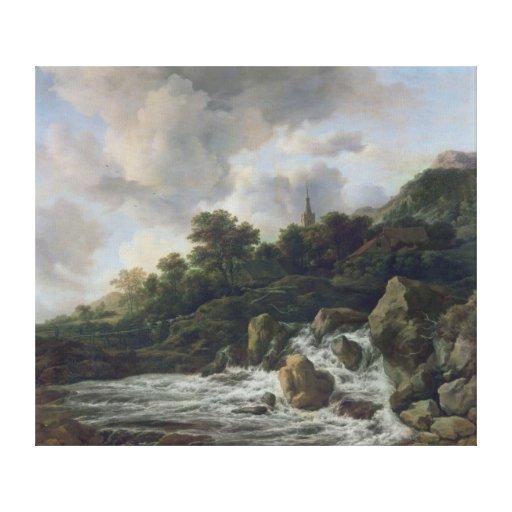 Waterfall Near a Village, c.1665-70 Canvas Print