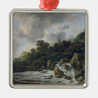 Waterfall Near a Village, c.1665-70 Metal Ornament
