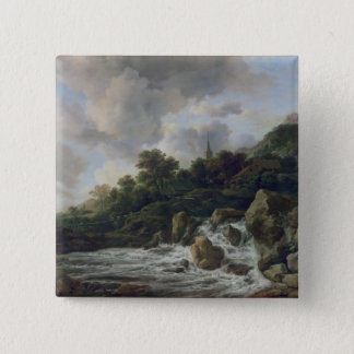 Waterfall Near a Village, c.1665-70 Pinback Button