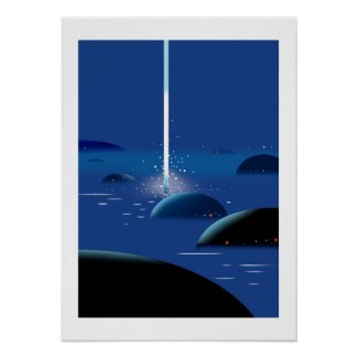 Waterfall of light from the sky poster