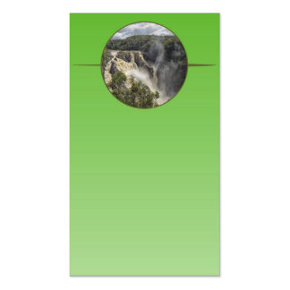 Waterfall on green gradient business cards