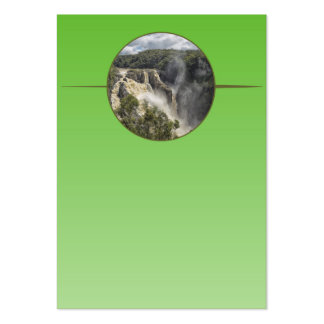 Waterfall on green gradient business card templates