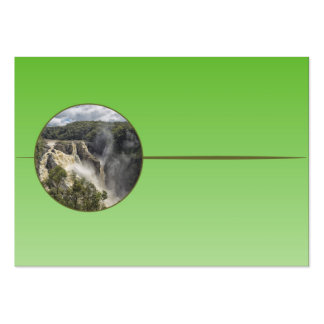 Waterfall on green gradient business card template