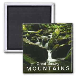Waterfall on Roaring Fork Trail - Great Smoky Mtns 2 Inch Square Magnet