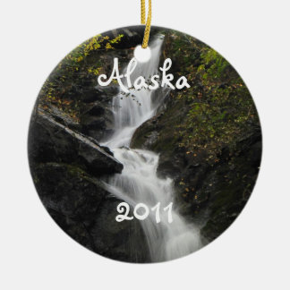 Waterfall on the Rocks; Alaska Souvenir Double-Sided Ceramic Round Christmas Ornament