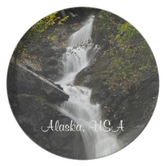 Waterfall on the Rocks; Alaska Souvenir Party Plate
