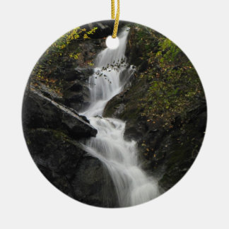 Waterfall on the Rocks Double-Sided Ceramic Round Christmas Ornament