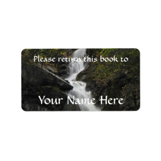 Waterfall on the Rocks Label