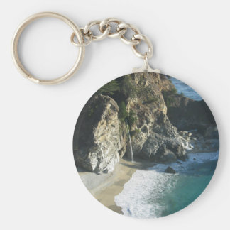 Waterfall Onto Beach Flowing Into Ocean At Big Sur Keychain