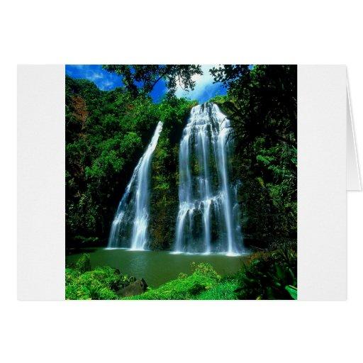 Waterfall Opaekaa Kauai Hawaii Cards