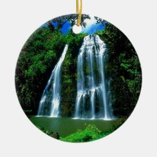 Waterfall Opaekaa Kauai Hawaii Ceramic Ornament