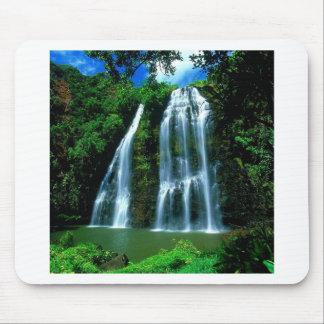 Waterfall Opaekaa Kauai Hawaii Mousepads