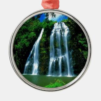 Waterfall Opaekaa Kauai Hawaii Round Metal Christmas Ornament