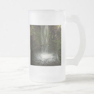 Waterfall Over Mossy Stones 16 Oz Frosted Glass Beer Mug