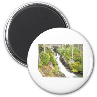 Waterfall Paradise Area Mt Rainier National Park 2 Inch Round Magnet