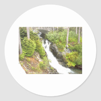 Waterfall Paradise Area Mt Rainier National Park Classic Round Sticker