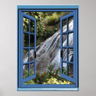 Waterfall Photo Trompe l'oeil Fake Window Poster