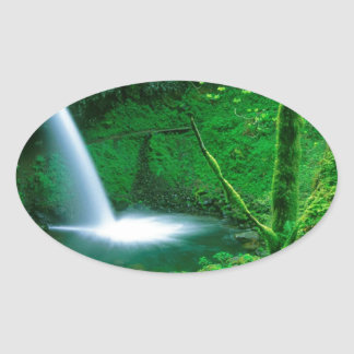 Waterfall Ponytail Columbia Gorge Oval Sticker