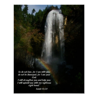 Waterfall & Rainbow Isaiah 41:10 Print