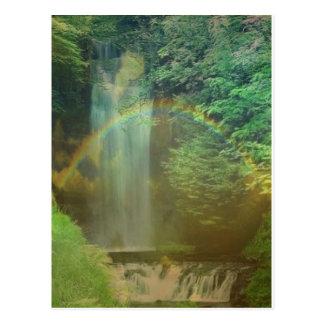 waterfall rainbow postcard