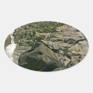 Waterfall Sandy Cliffs Heights Oval Sticker