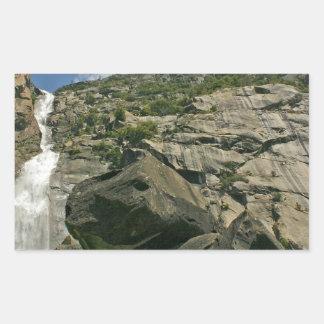 Waterfall Sandy Cliffs Heights Rectangular Sticker
