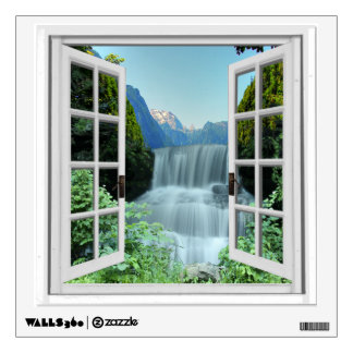 Waterfall Scenic View Mural Fake Window Wall Sticker