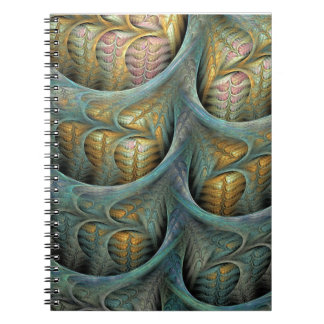 """Waterfall"" Teal and Yellow Fractal Spiral Notebook"