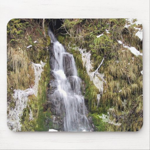 Waterfall through snowy bank mouse pad