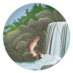 Waterfall Trout Fly Fishing Plate