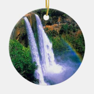 Waterfall Wailua Kauai Hawaii Ceramic Ornament