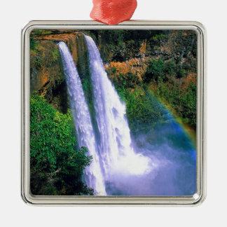 Waterfall Wailua Kauai Hawaii Square Metal Christmas Ornament