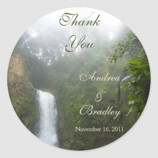 Waterfall Wedding Personalized Favor Classic Round Sticker