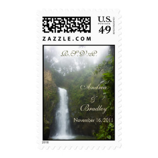 Waterfall Wedding Postage Stamps