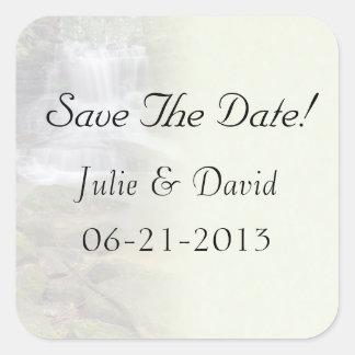 Waterfall Wedding Save The Date Sticker