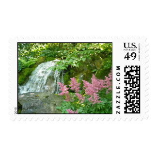 Waterfall with Pink Astilbe Postage Stamp