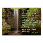 Waterfall with Rev. 7:17 verse Greeting Card