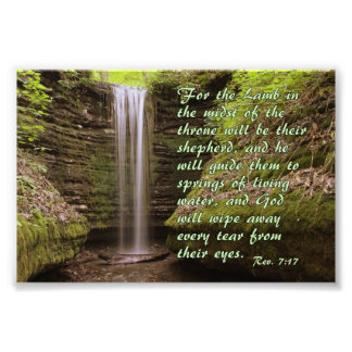 Waterfall with Rev. 7:17 verse Art Photo