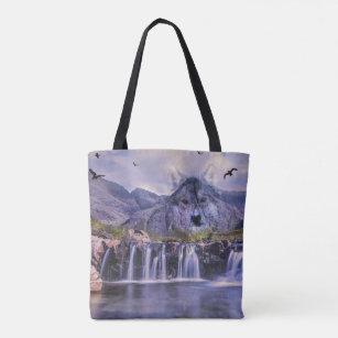 Crossbody canvas bag  Blue Watercolor Waterfall