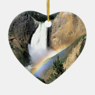 Waterfall Yellowstone Park Wyoming Double-Sided Heart Ceramic Christmas Ornament