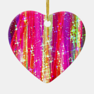WATERFALLS Abstract Stripes Pink Purple Painting Christmas Ornaments