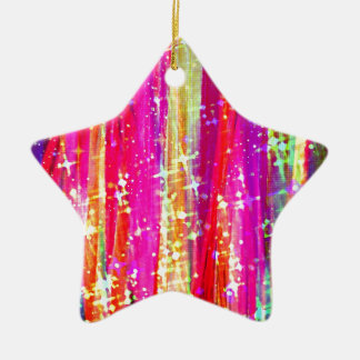 WATERFALLS Abstract Stripes Pink Purple Painting Christmas Ornament