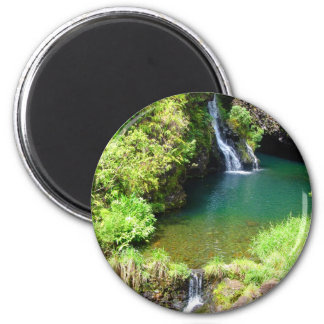 Waterfalls along the Road to Hana, Maui, Hawaii 2 Inch Round Magnet